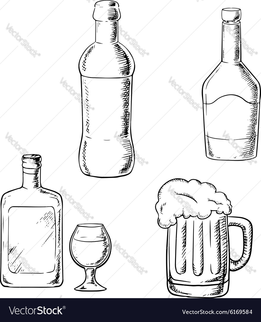 Bottles of wine liquor whiskey and beer vector image