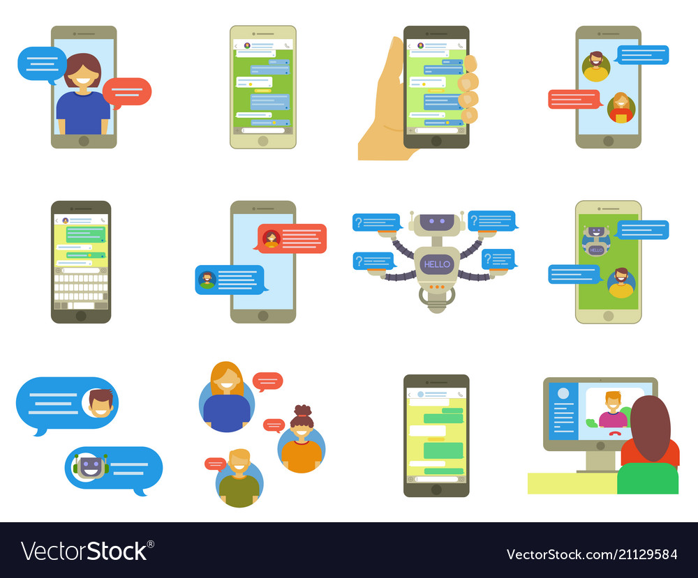 Chatting people bubble speeches messages on phone vector image