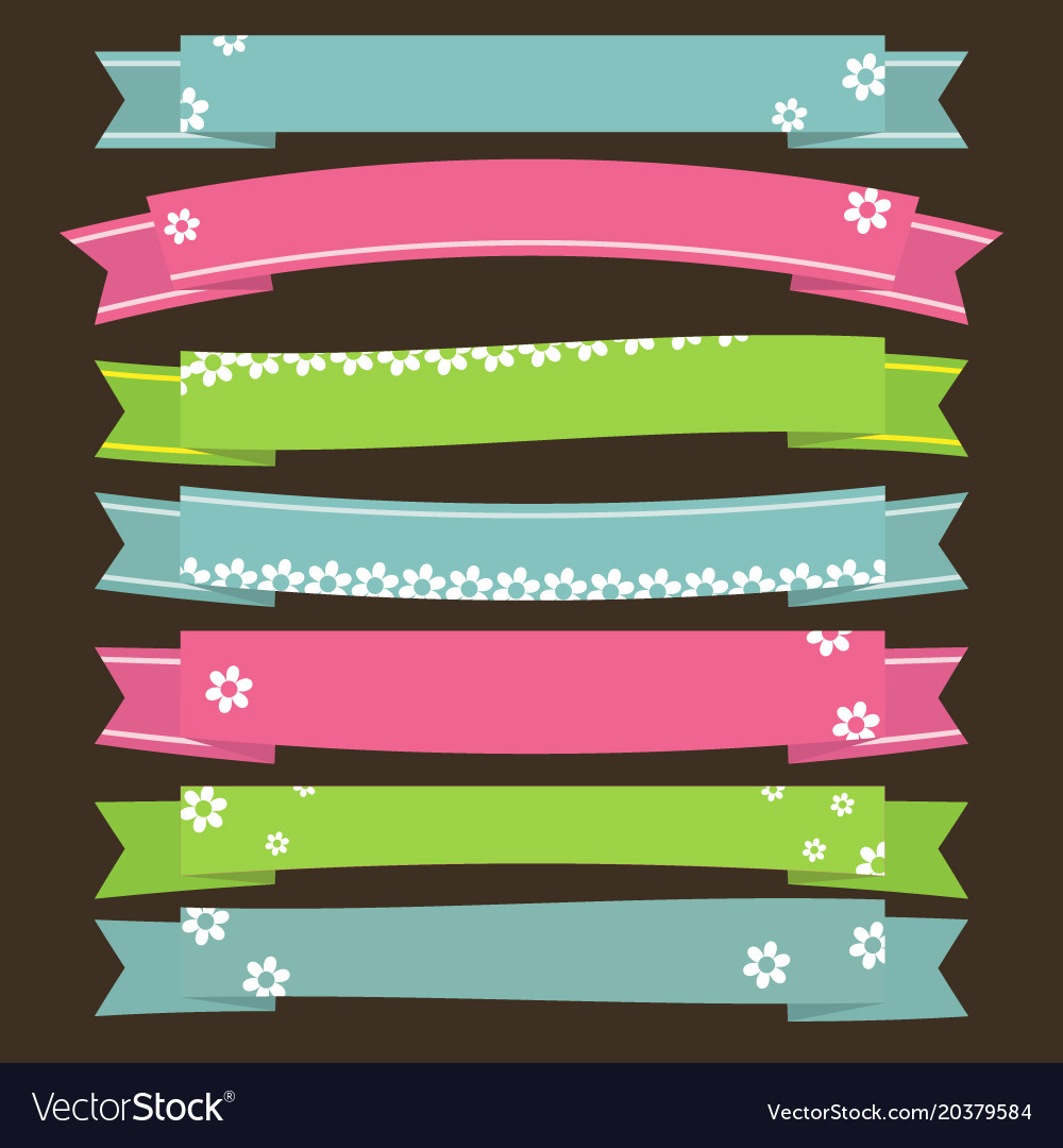 Cute ribbons banners with flower