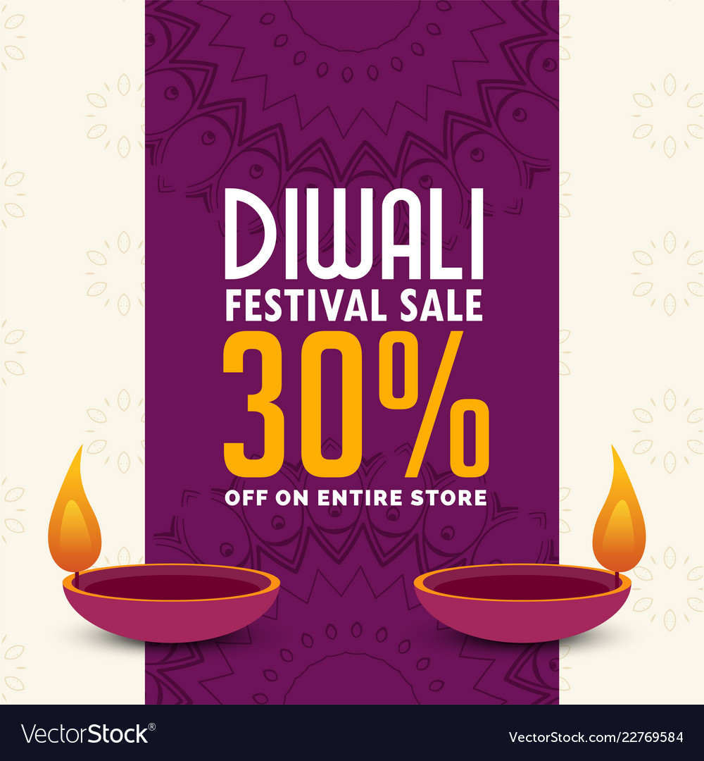 diwali sale poster design with two diya royalty free vector