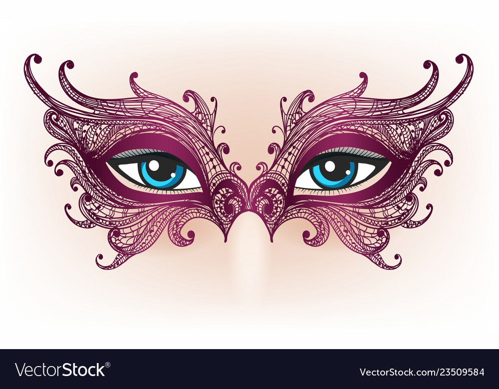Female eyes in lace mask