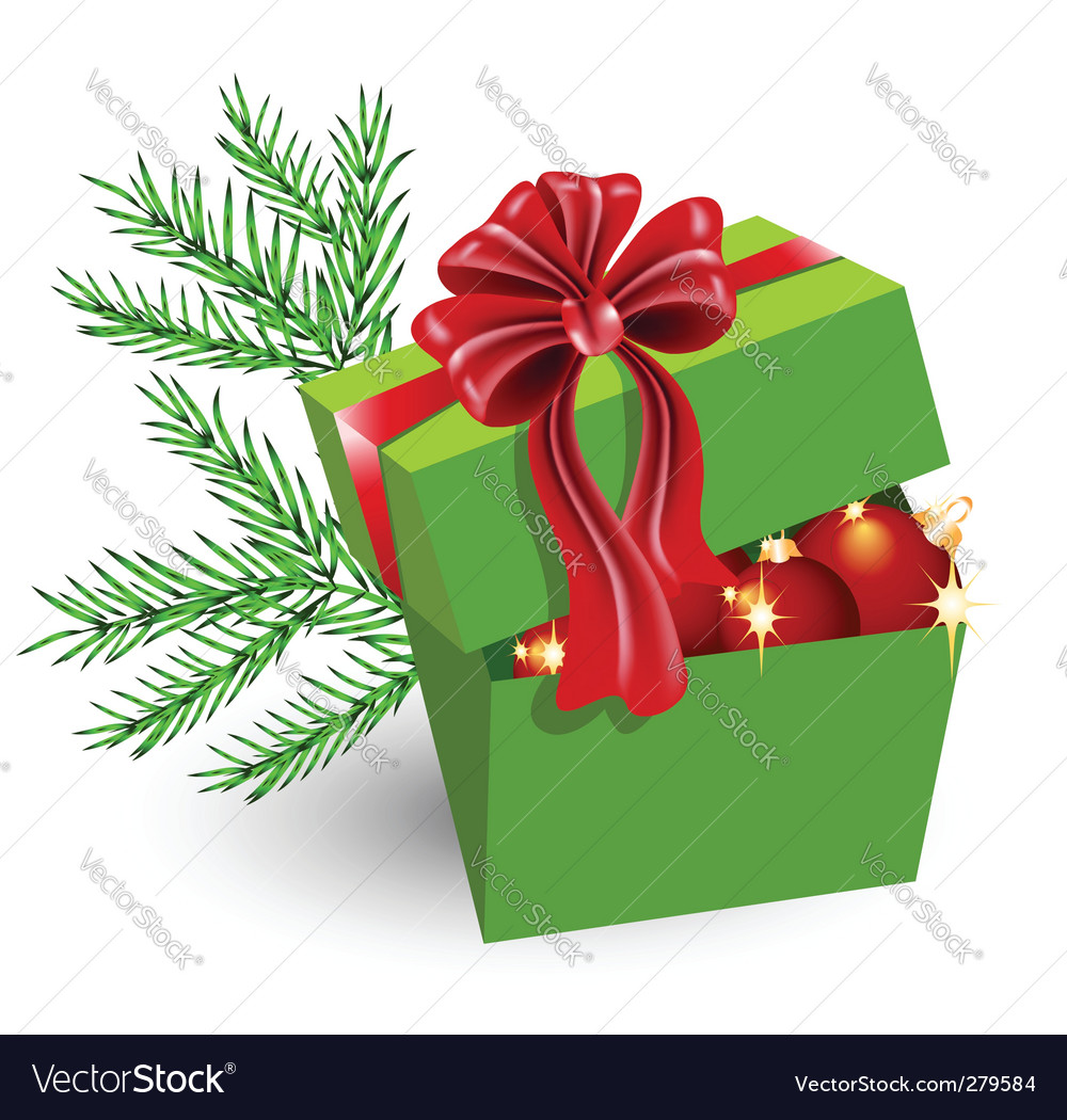 gift box with christmas decorations vector image