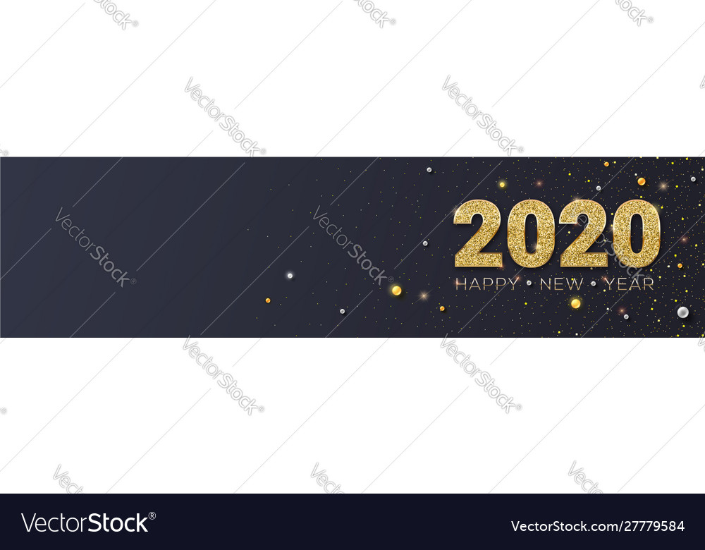Happy new year 2020 glittering golden dust