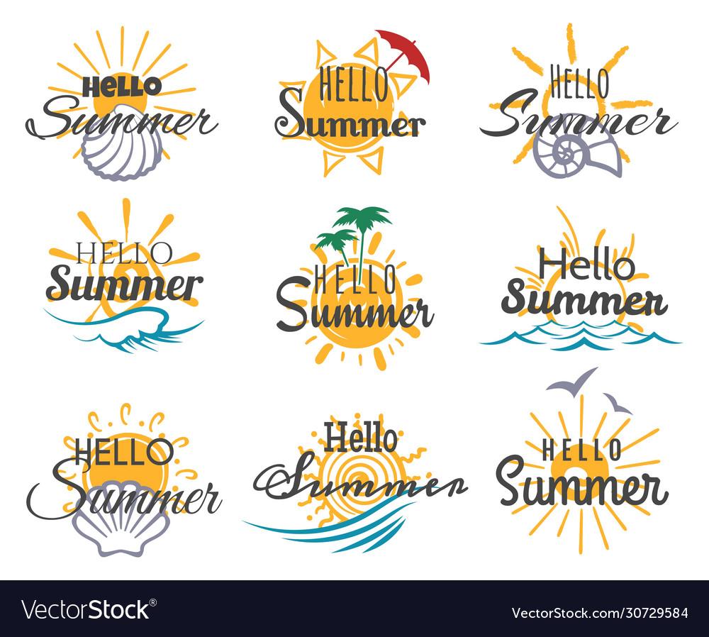 Hello summer logo set