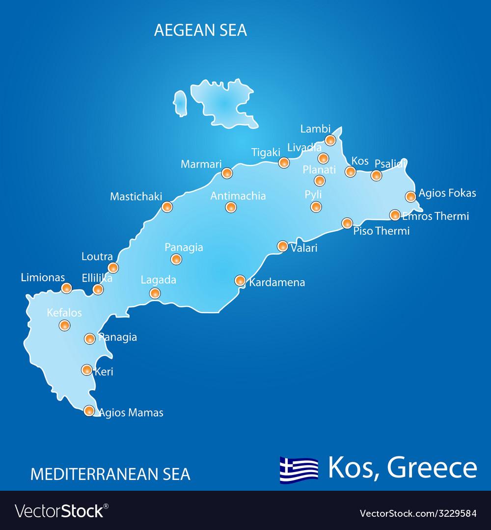 Kos Greece Map Island of Kos in Greece map Royalty Free Vector Image