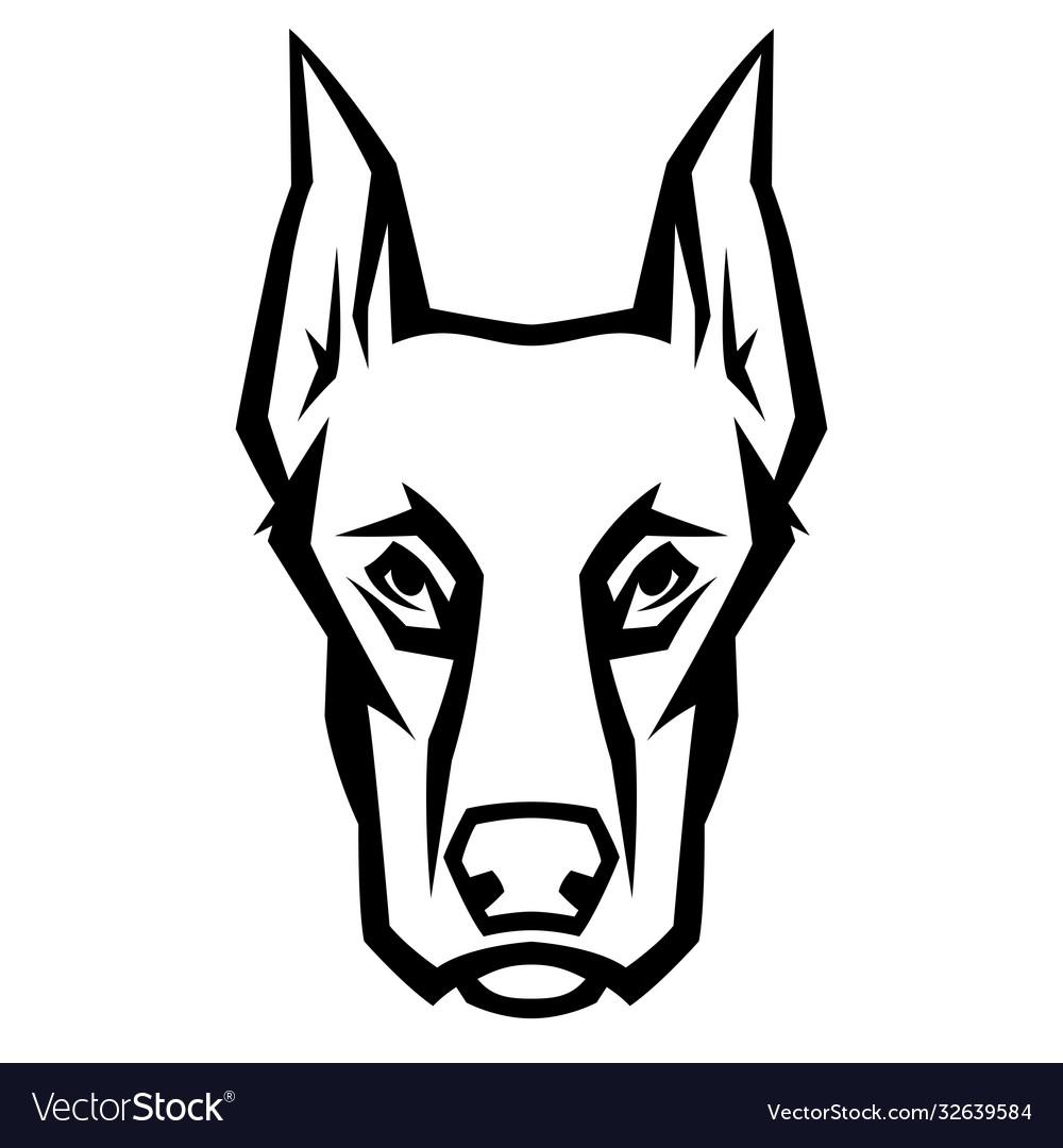 Mascot stylized doberman head
