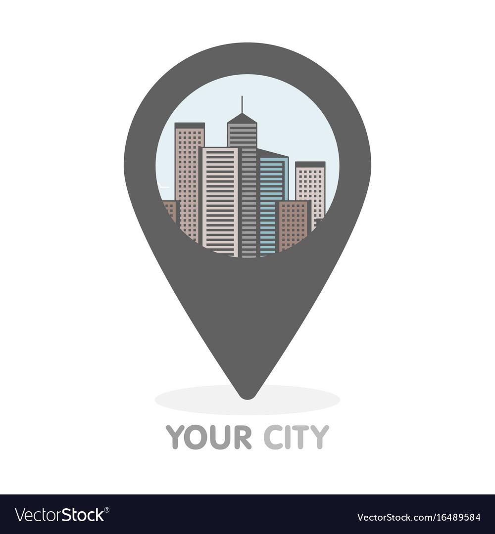 Modern city thin line in pointer logo concept