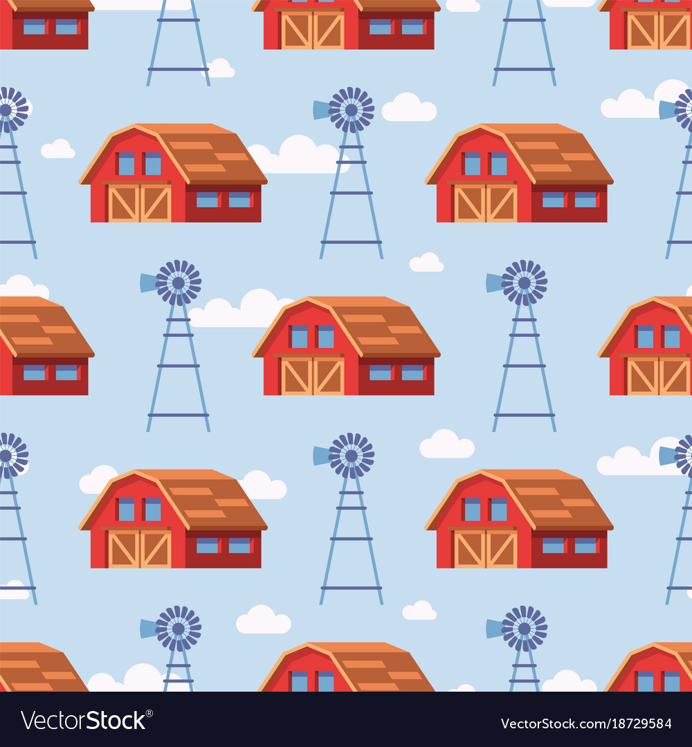 Red farm house seamless pattern design