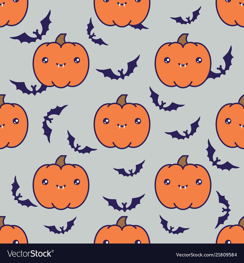 Seamless halloween pattern with pumpkins on grey