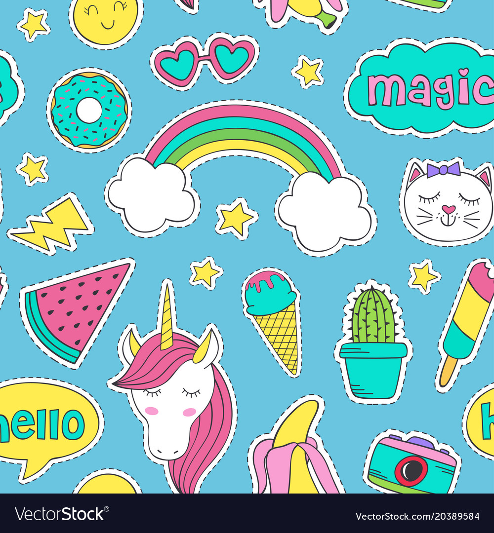 Seamless pattern with cute stickers for girl