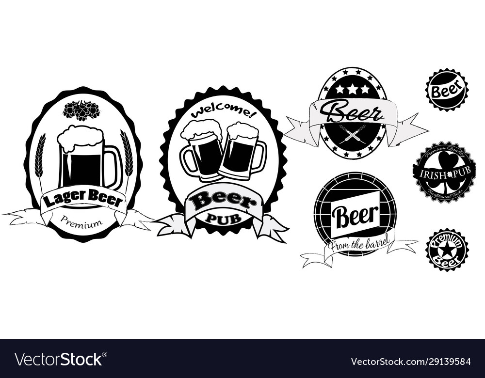 Set beer labels isolated