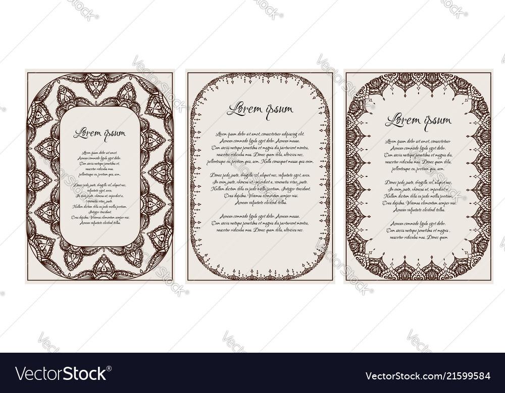 Set of vintage templates with henna frame mehendi