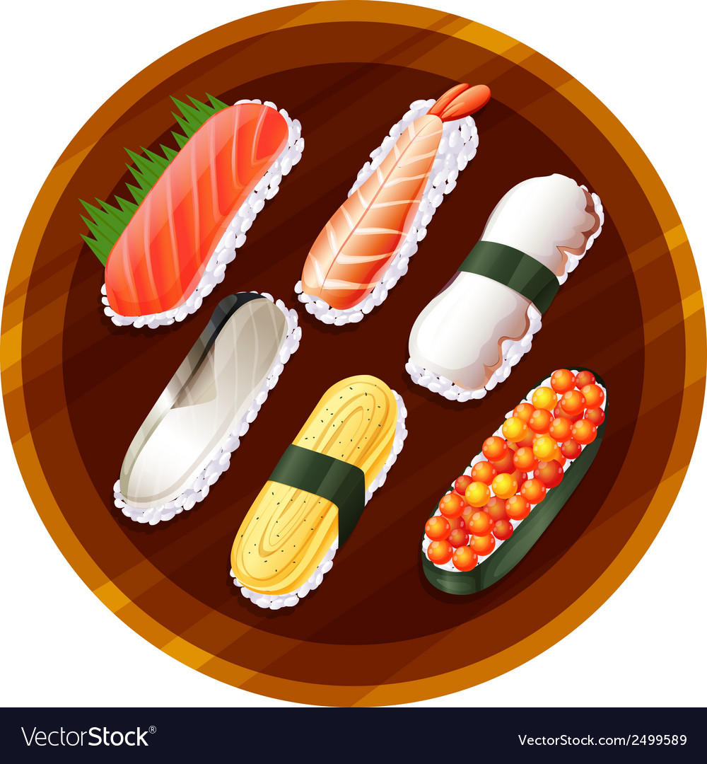 A topview of the different flavors of sushi vector image
