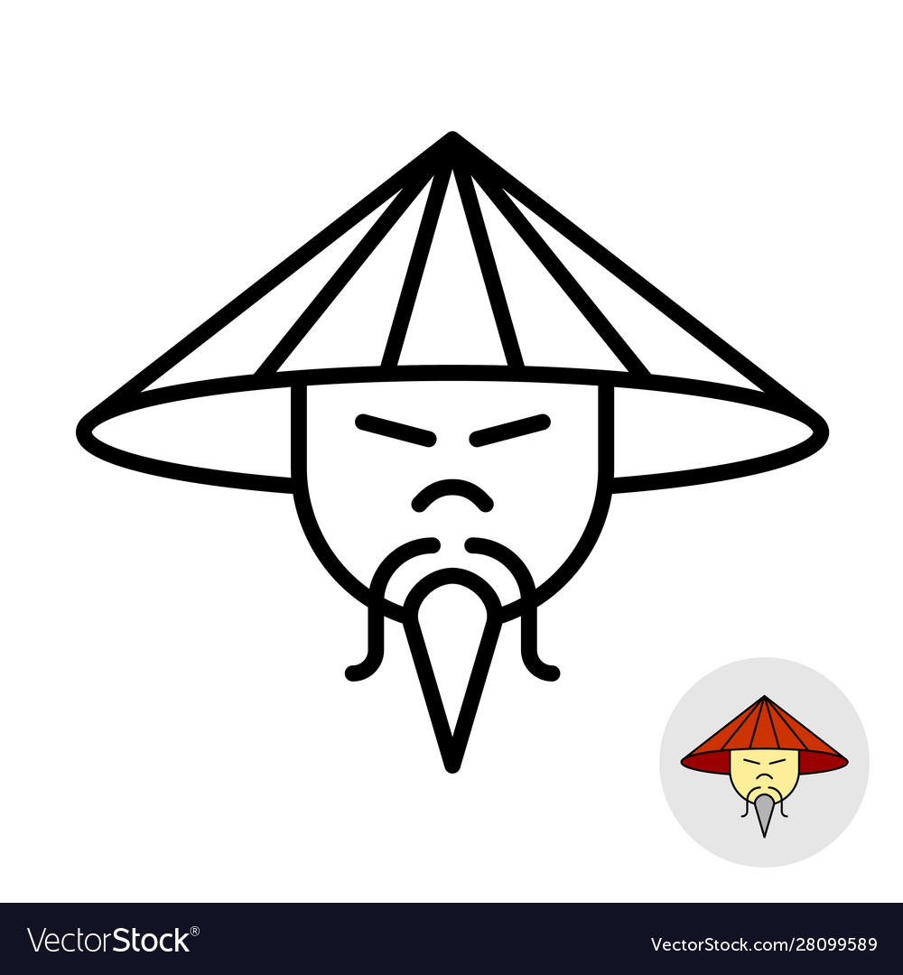 Chinese man in a straw conical hat line icon
