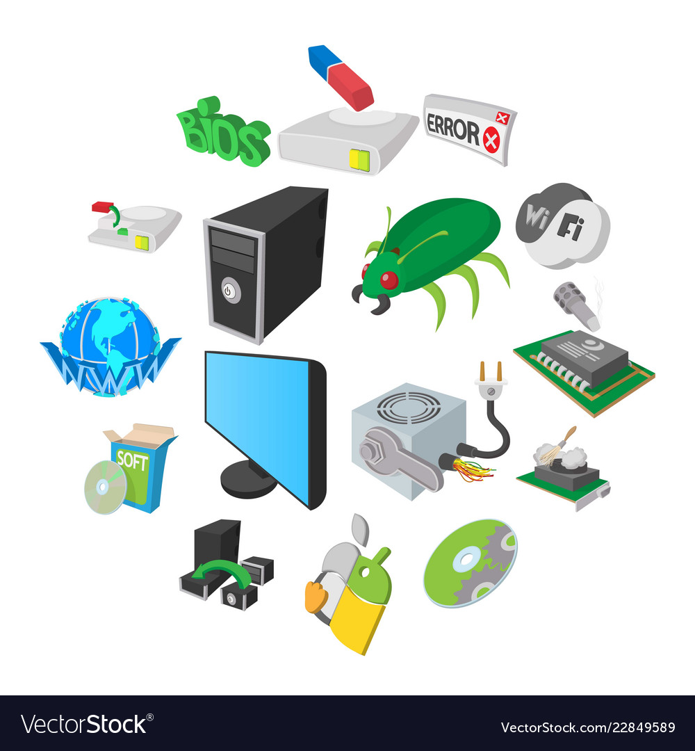 Computer service icons set cartoon style
