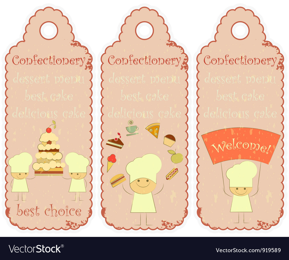 Confectionery labels in Retro style vector image