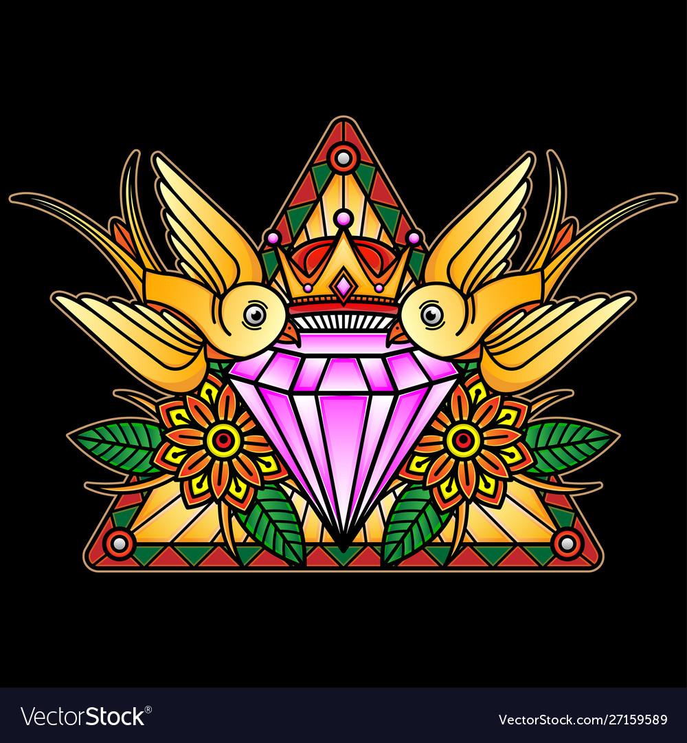 Crystal flash tattoo design