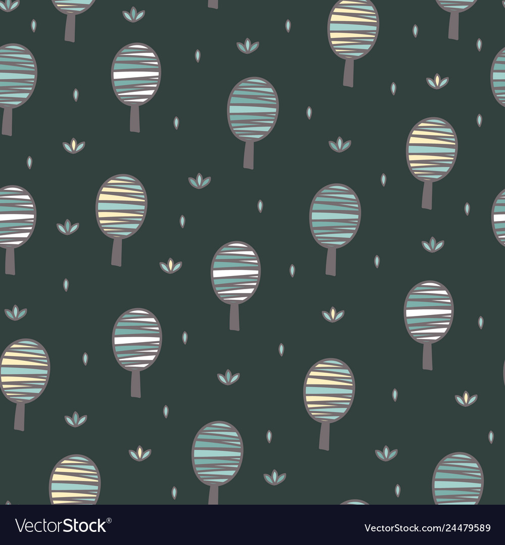 Cute trees seamless pattern forest background