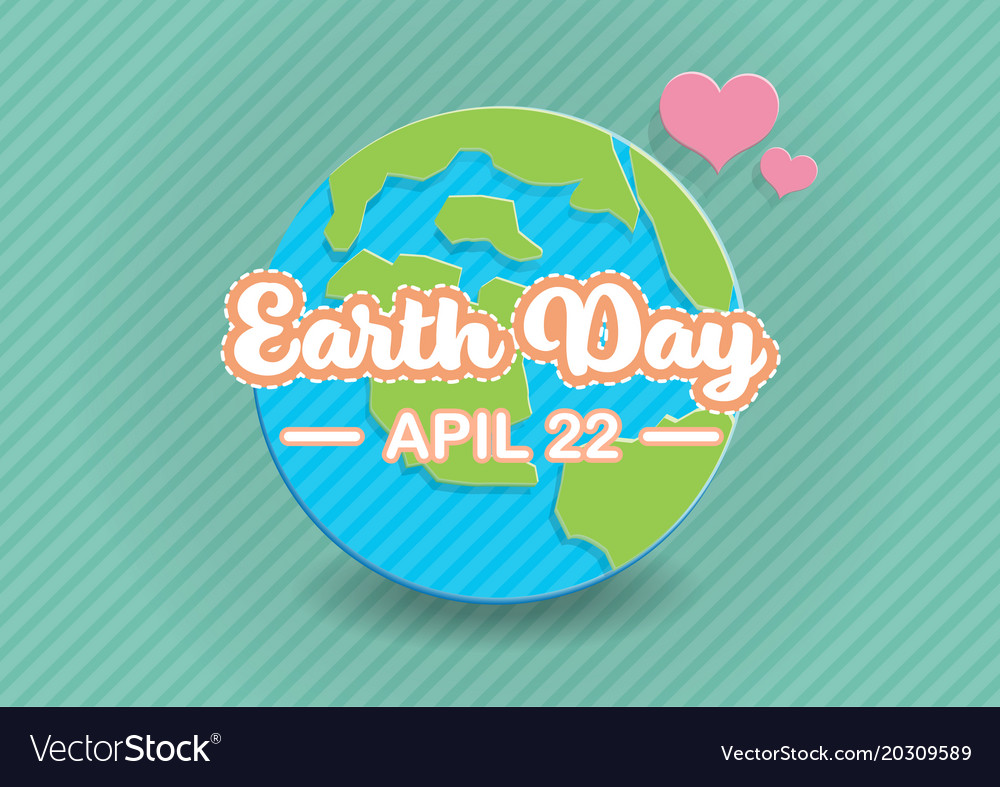Earth day text on globe paper art
