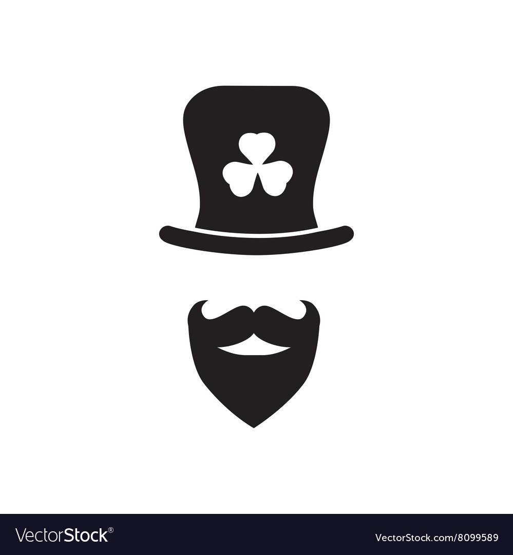 Flat icon in black and white man beard