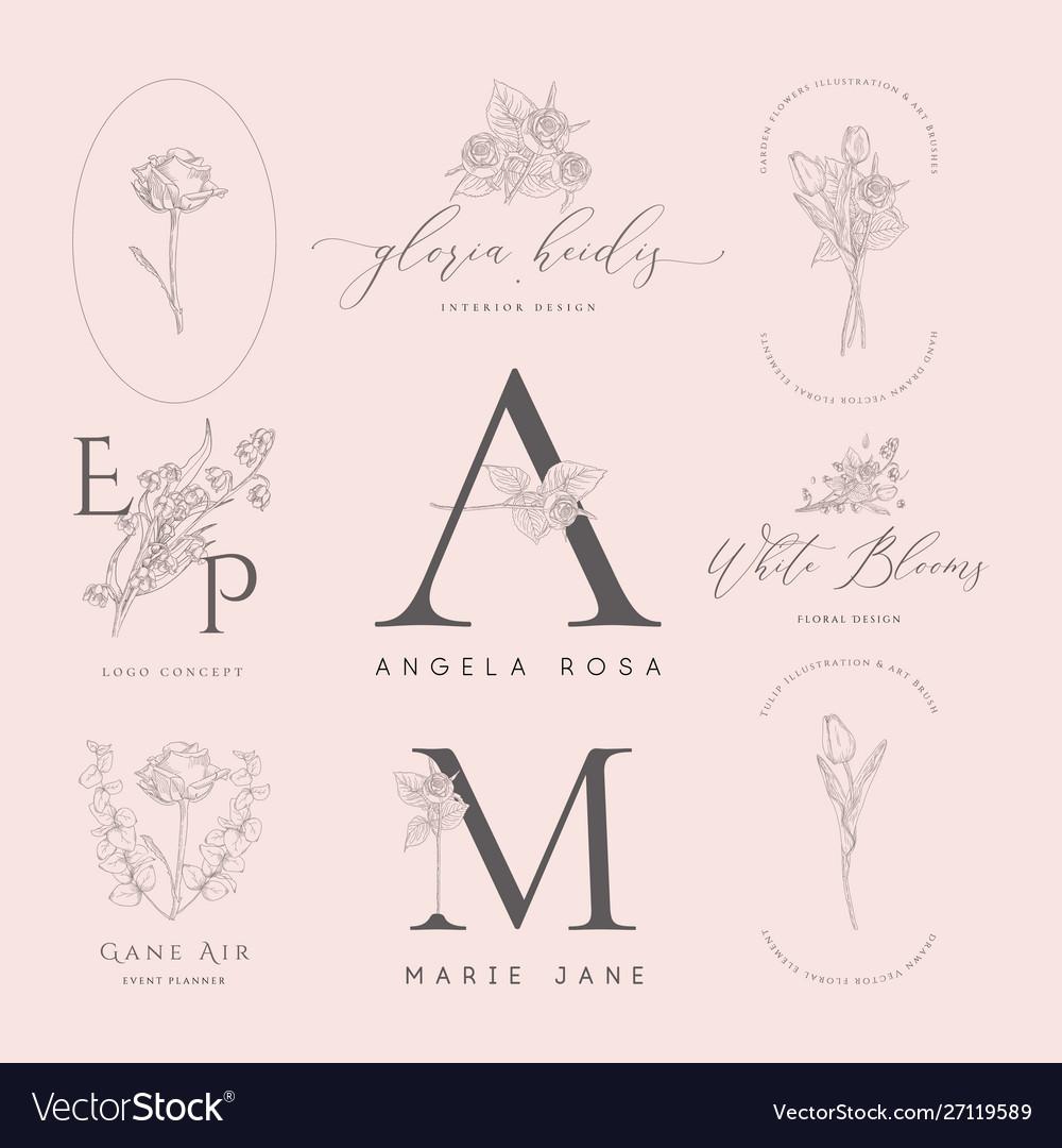 Floral elements for logos frames borders