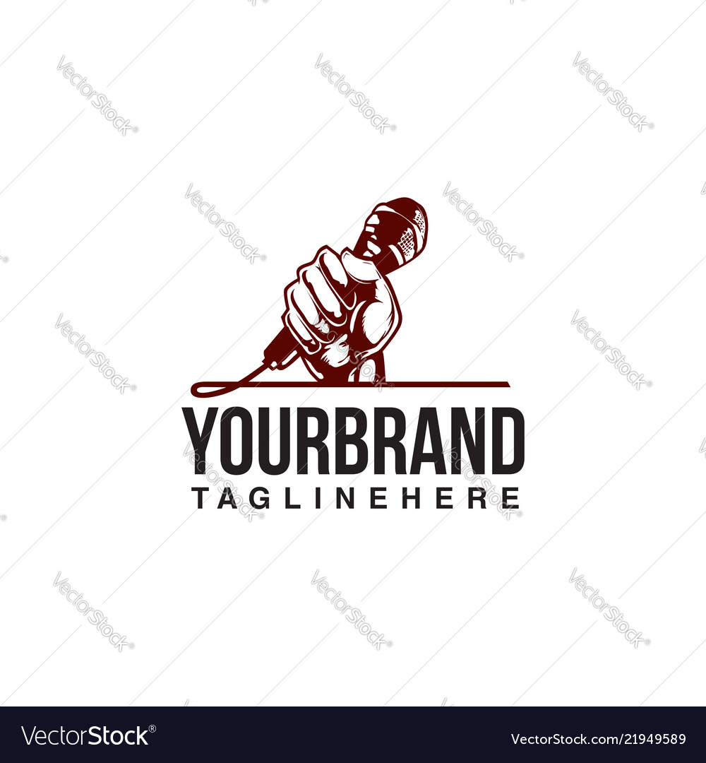 Hand holding a microphone logo design