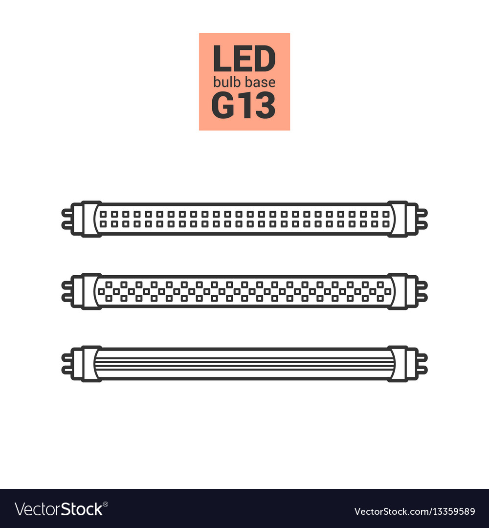 Led light g13 bulbs outline icon set vector image