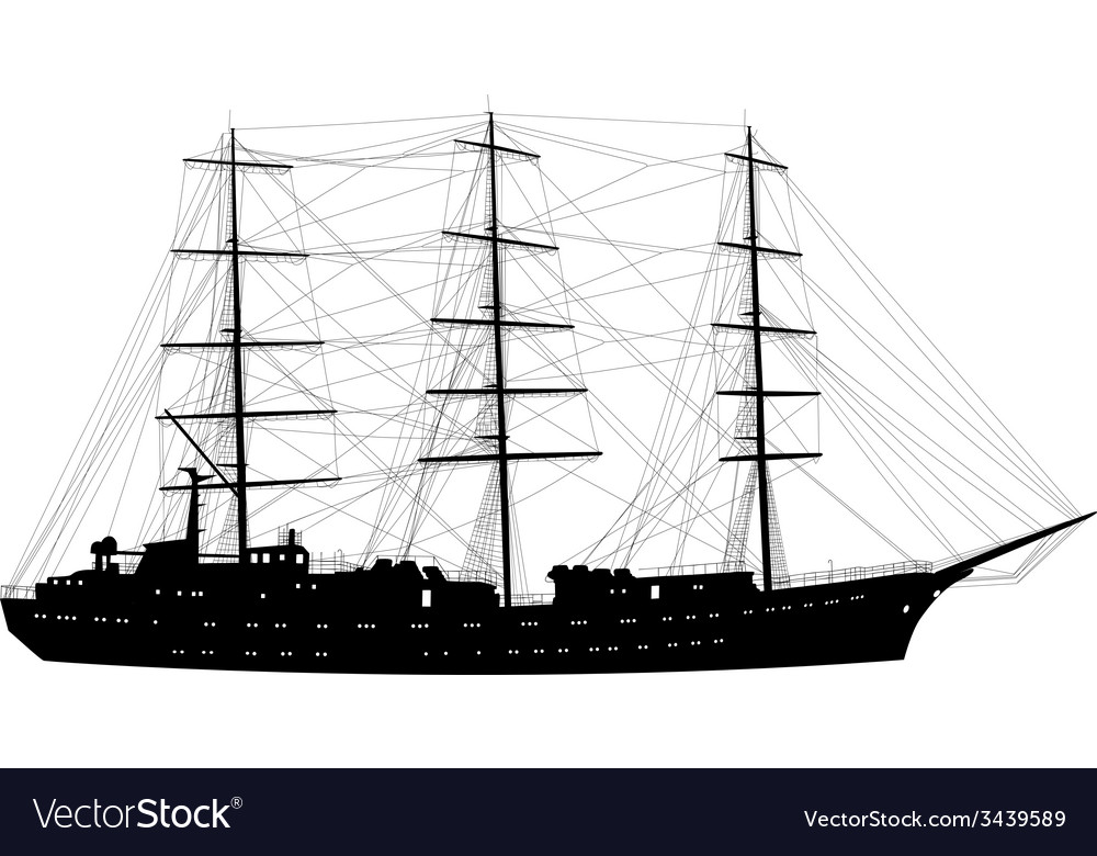 Ship sailing boat silhouette isolated on white
