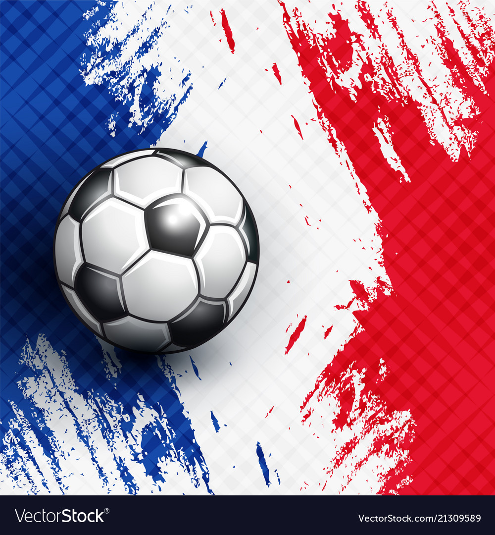 Soccer Ball On France Flag Abstract Backgrounds Vector Image