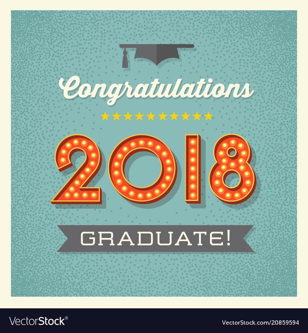 2018 Graduation Card Design Royalty Free Vector Image