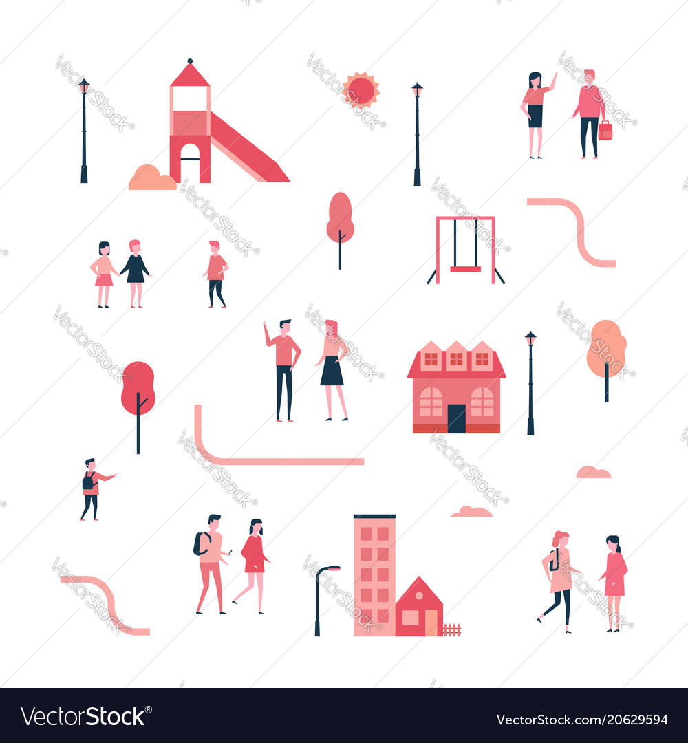 City - flat design style set of isolated elements vector image