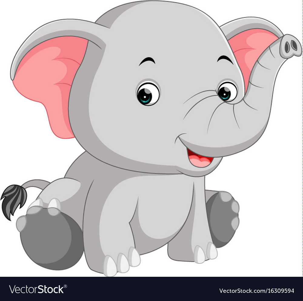 Cute elephant cartoon Royalty Free Vector Image