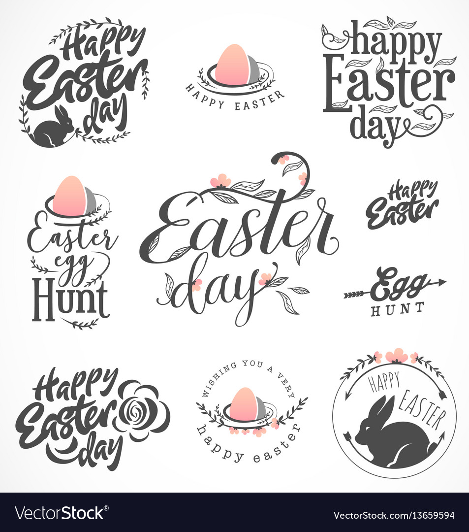 Easter greeting card elements labels and badges