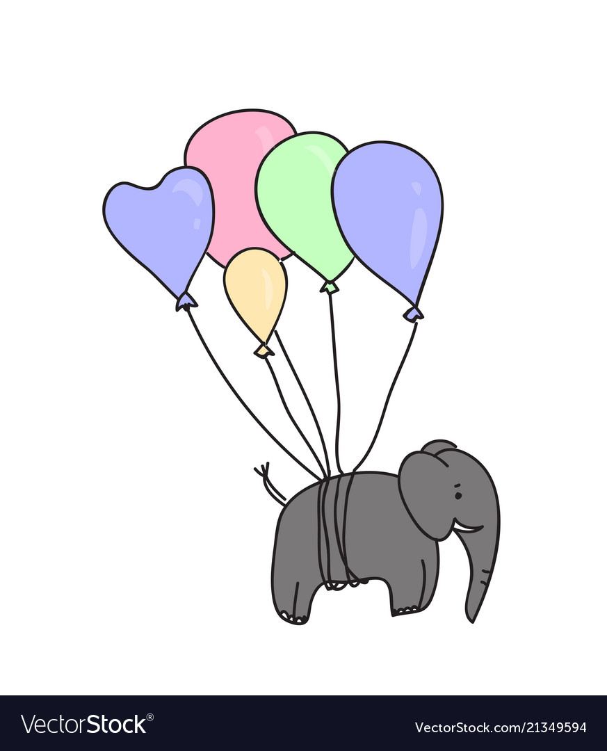 Elephant flies on air balloons