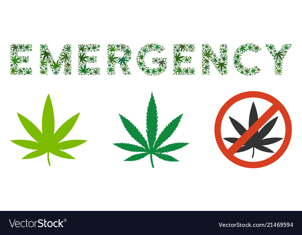 Emergency Text Composition Of Weed Leaves Vector Image
