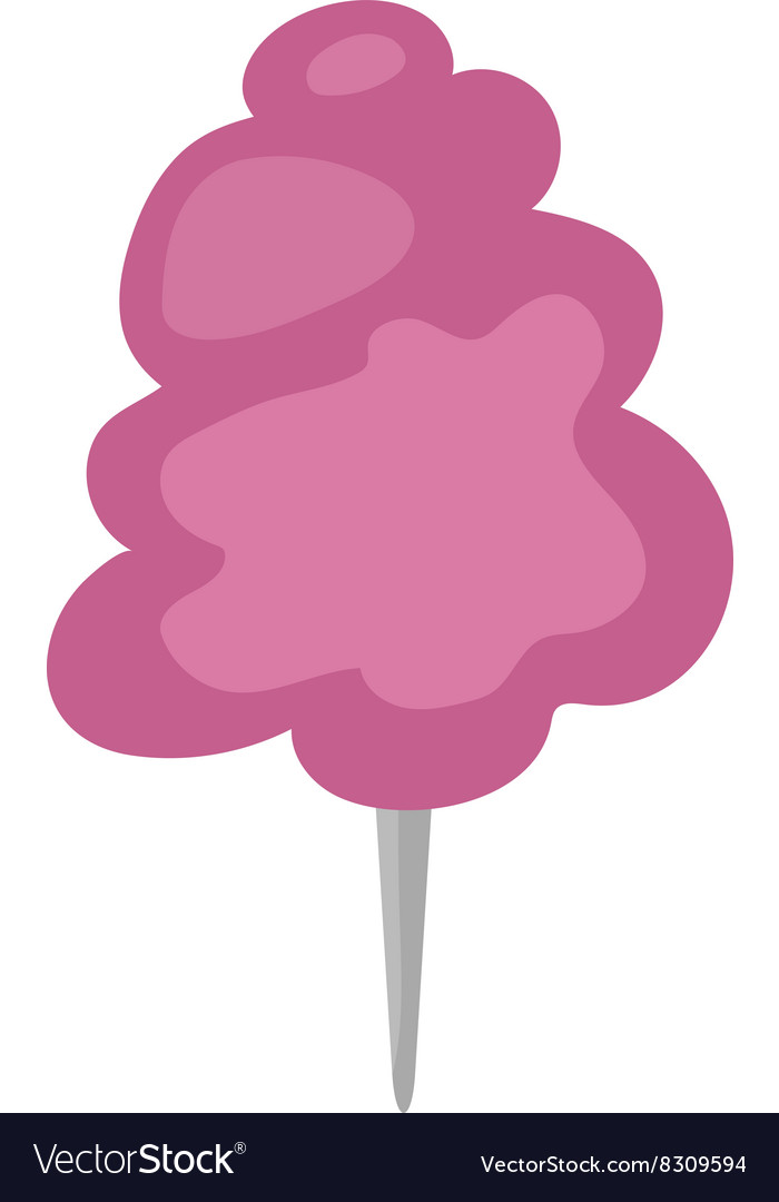 Fluffy fair dessert cotton candy on wooden stick