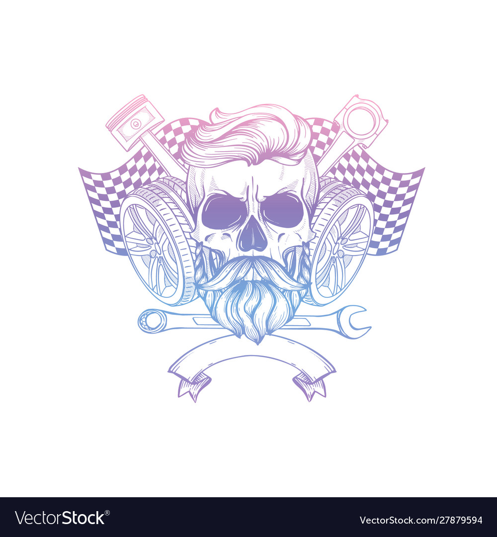 Hand drawn sketch skull with wrench