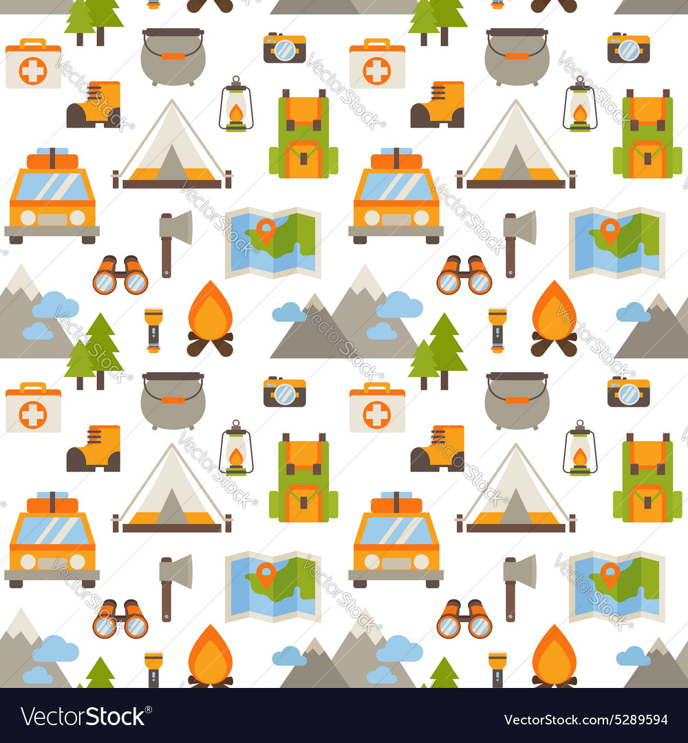 Hiking seamless pattern with flat camping elements