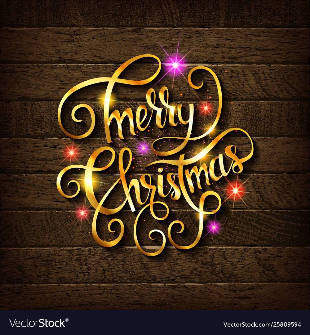 Merry christmas gold glittering lettering vector