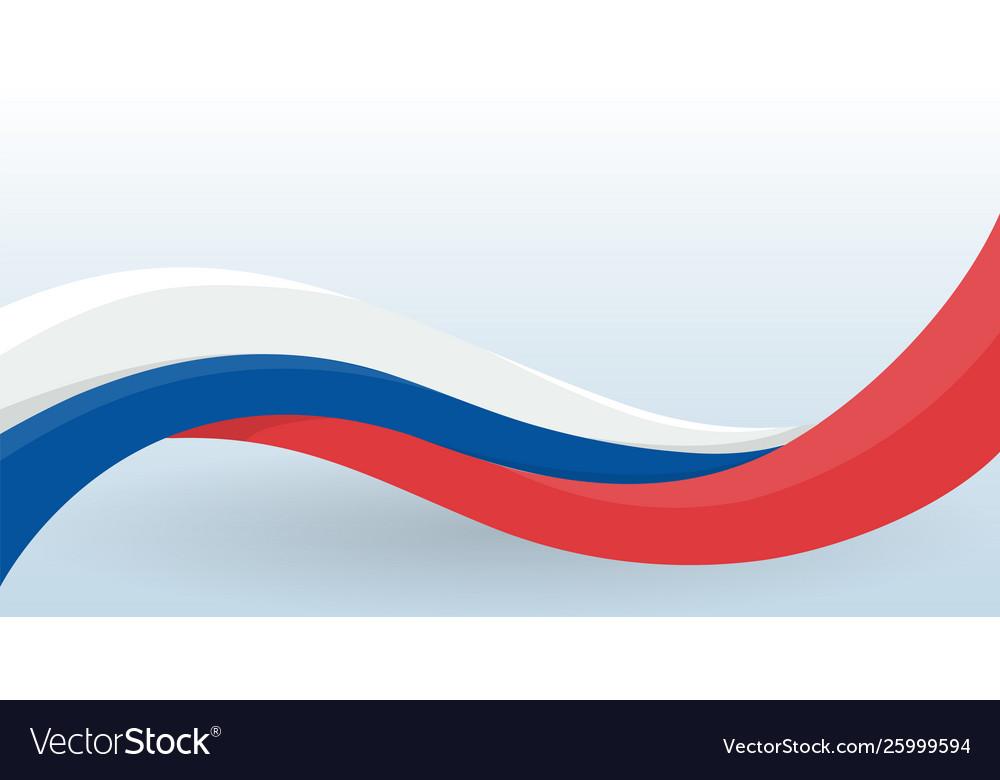 Russia waving national flag modern unusual shape