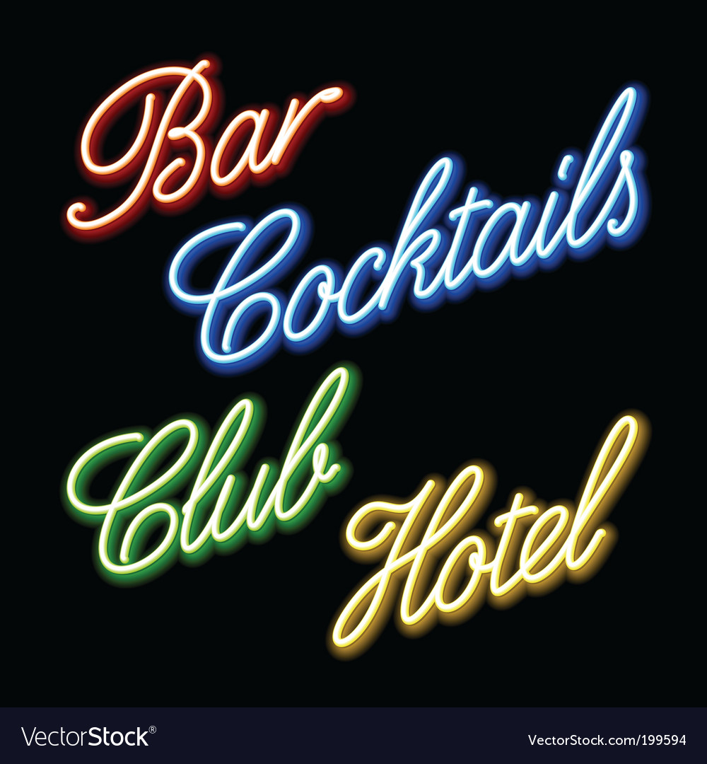 Set of glowing neon signs vector image