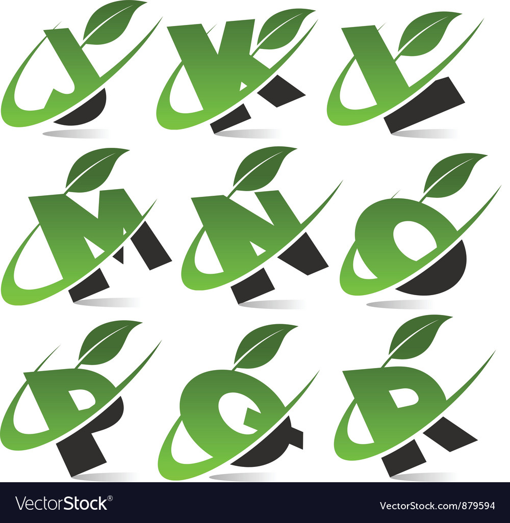 Swoosh green alphabet set2 vector
