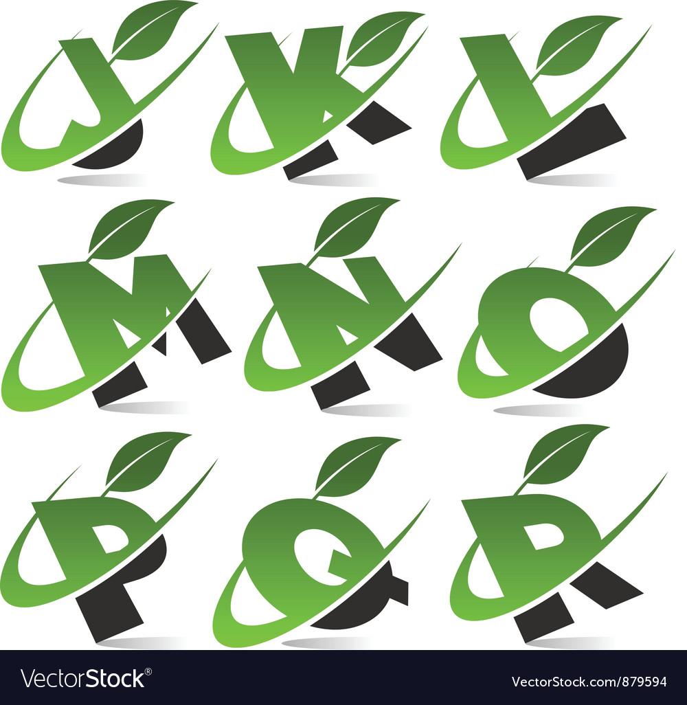 Swoosh Green Alphabet Logo Set2