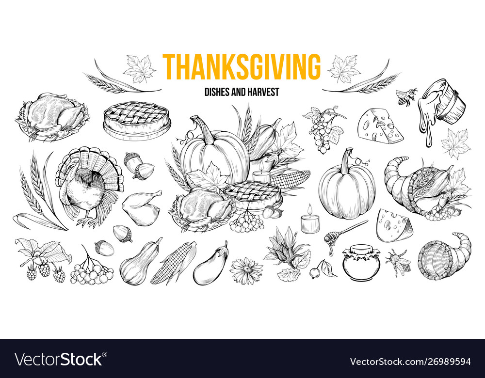 Thanksgiving dishes and harvest set