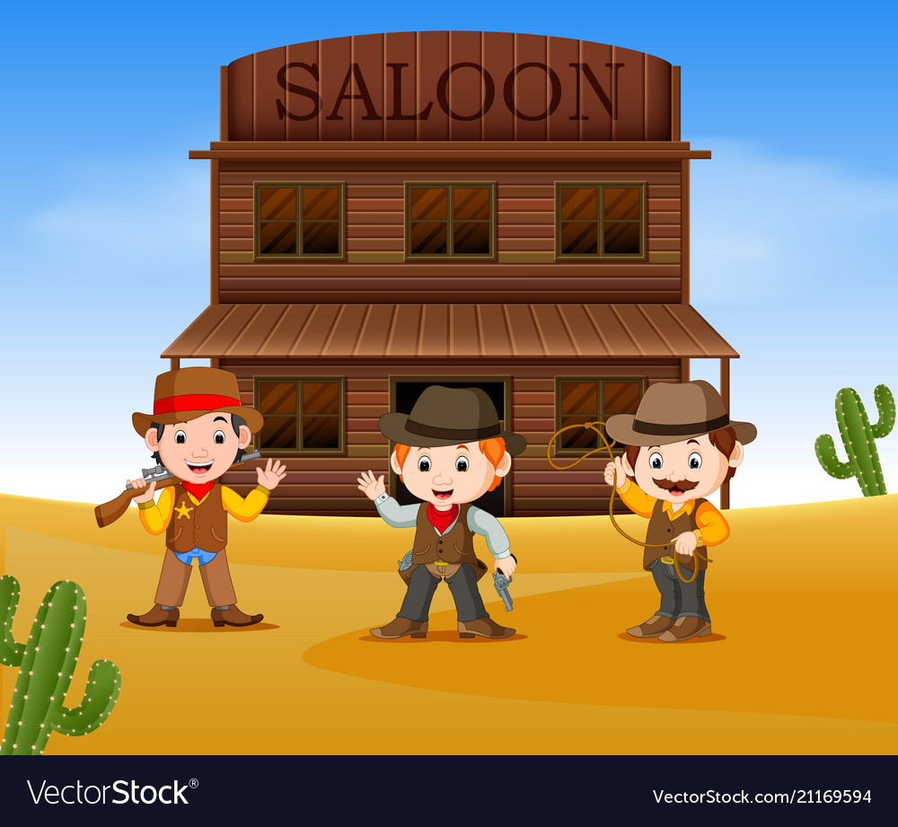Three cowboys holding gun and standing outside