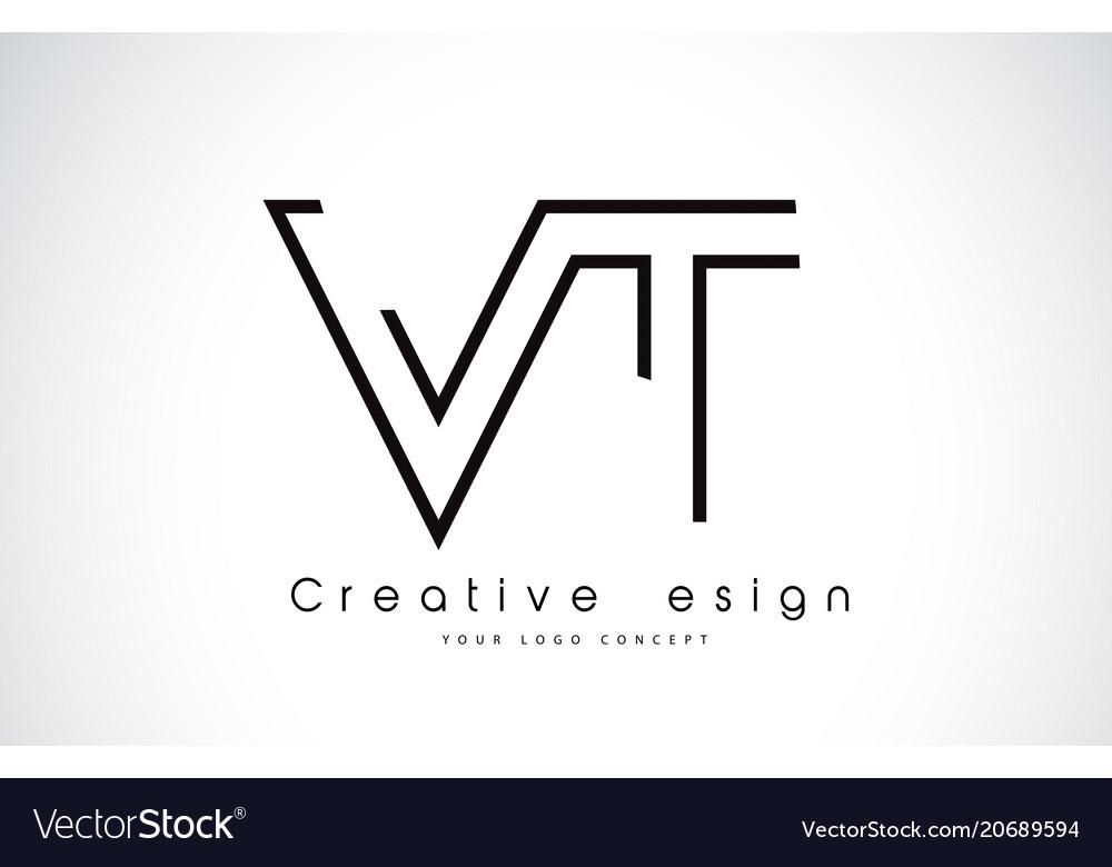 Vt v t letter logo design in black colors