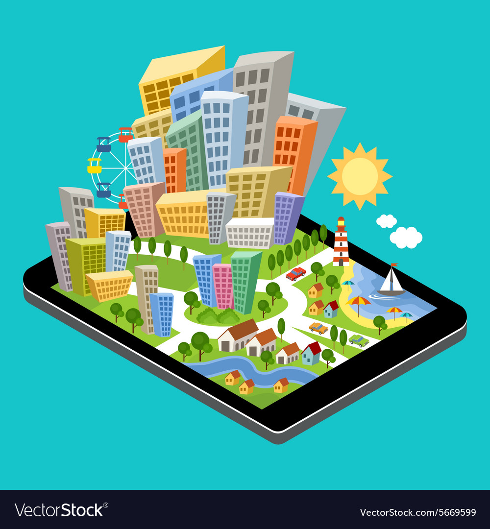 3d isometric city vector image
