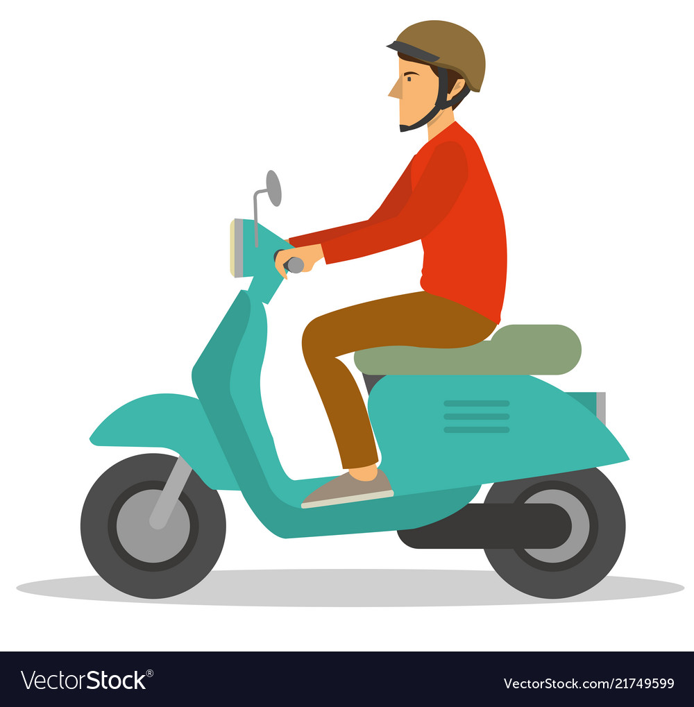 a man ride a motorcycle scooter trough city vector image vectorstock