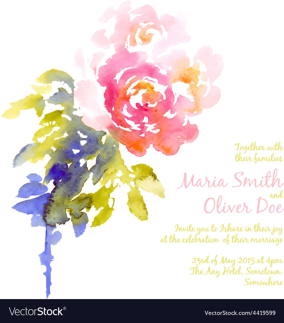 Background with pink watercolor bouquet