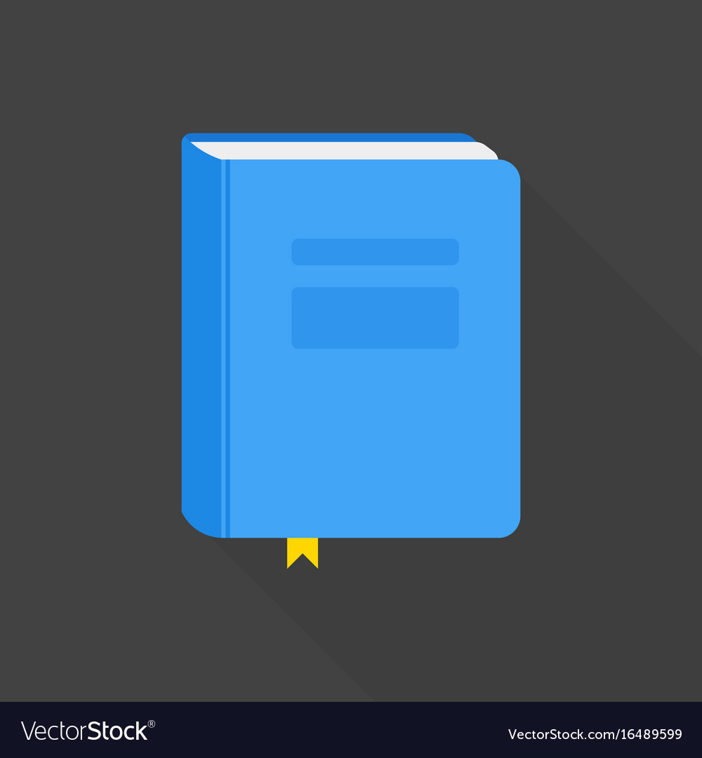 Blue book icon flat style with long shadow